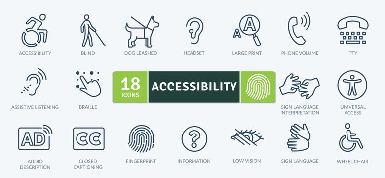 Accessibility Icons Pack. Thin line icons set. Flat icon collection set. Simple vector icons