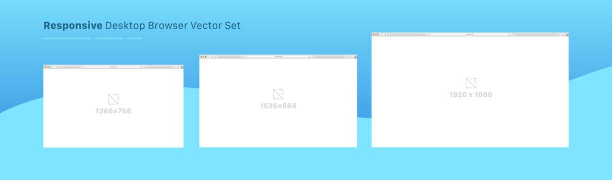 Responsive Desktop Browser Vector Layout Set. Interface Template Flat