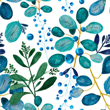 Blue leaves with blueberries seamless pattern background.
