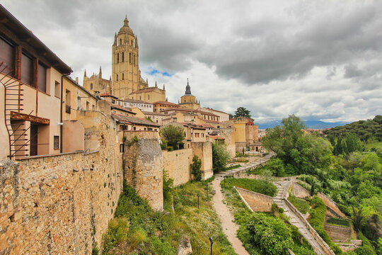 Cathedral of Segovia on the hill in Spain