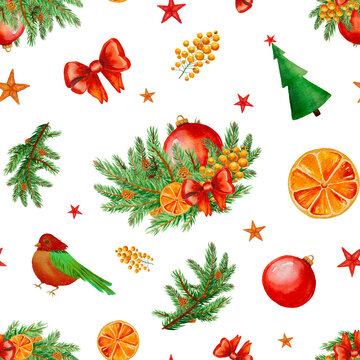 Watercolor Christmas pattern with colorful icons isolated.
