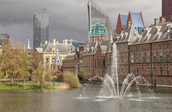 Hofvijver pond in The Hague, Holland