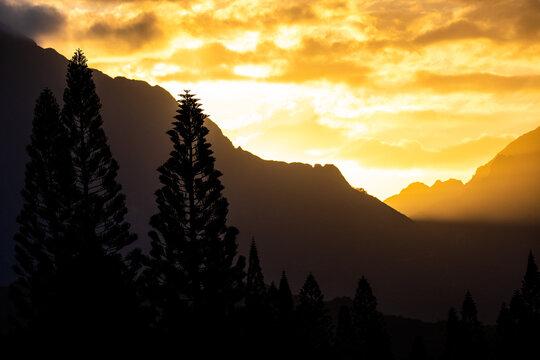 Sunset through the Ko'olau Mountains of Oahu Hawaii