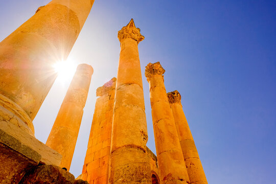 Ancient ruined columns in the Roman city of Jerash, Jordan