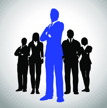 Successful Team Leader in Blue. A team of Successful executives led by a great and leader.