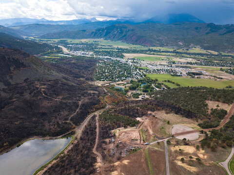 Aerial view of landscape from wildfire in Colorado