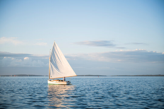 Single one catboat sailboat sailing during golden hour summer sunset