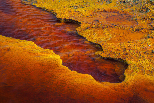 Acid mine drainage from leads to severe environmental problems.