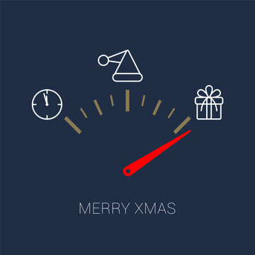 A speedometer or clock hand indicating the arrival of Christmas gifts. Vector illustration