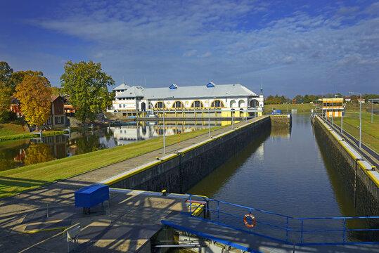 Hydroelectric power station Mirejovice on the Vltava river near Nelahozeves, Czech Republic