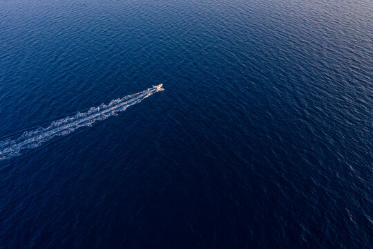 Aerial view of a speed boat at Adriatic sea, Croatia