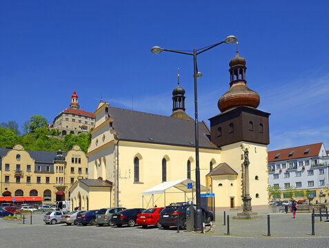 Nachod - Church of St Lawrence, Main Square and Chateau. Nachod is a town in the Hradec Kralove Region, is located in the valley of the river Metuje