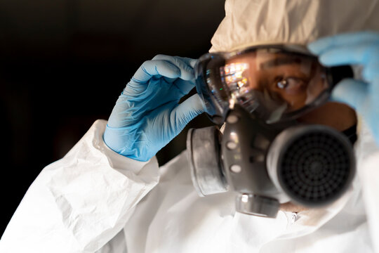 military with protective equipment to disinfect the hospital of the covid19