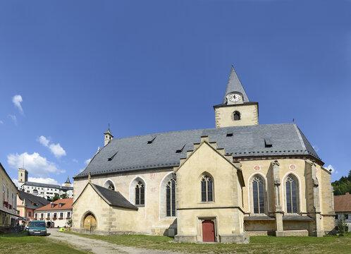 Rozmberk nad Vltavou - Late Gothic church of St. Nicholas. The town is a popular tourist destination in South Bohemia.