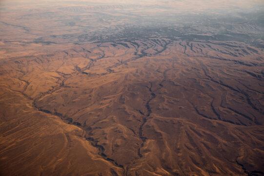 Above a bizarre landscape shot from a plane