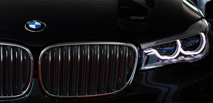 Lviv, Ukraine - February 27, 2018: BMW emblem on a bmw car
