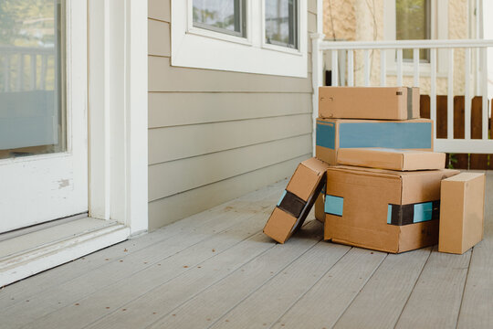 Packages on porch from online shopping