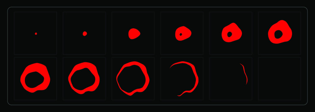 Liquid animation effect. Blood circle sprites sheet for games, cartoon or animation and motion design.