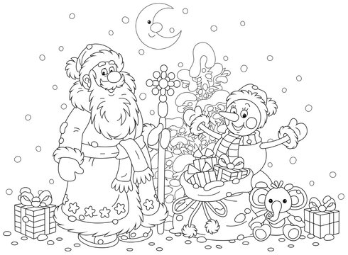 Santa Claus and a funny snowman with a snowy Christmas fir tree and a magic bag of holiday gifts for children, black and white outline vector cartoon illustration for a coloring book page