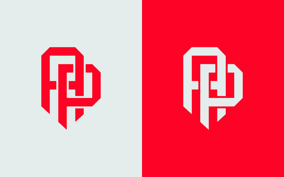 Template logo PA or AP monogram initial logo red and white color. interlock, overlapping for clothing, apparel