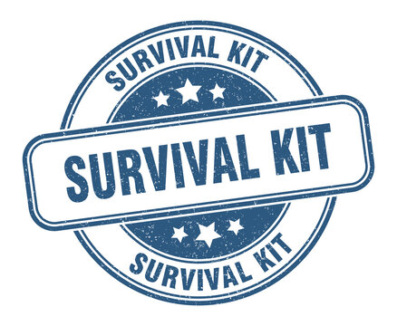 survival kit stamp. survival kit label. round grunge sign