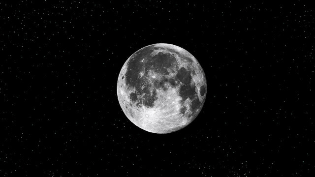 full moon on black background.