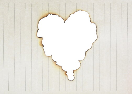 Burned paper in heart shape isolated on white background