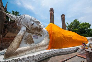 Reclining Buddha statue at Wat Yai Chaimongkol in Ayutthaya