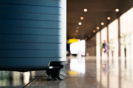 Suitcase in airport departure airport terminal waiting area, rea