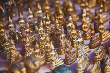 close up of Buddha statues at street market in Ayutthaya