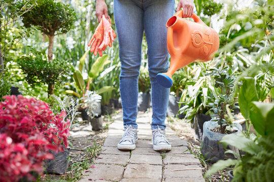 Young woman doing garden work
