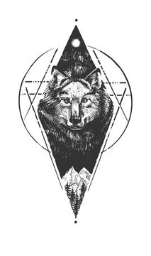 Wolf on wild nature landscape emblem