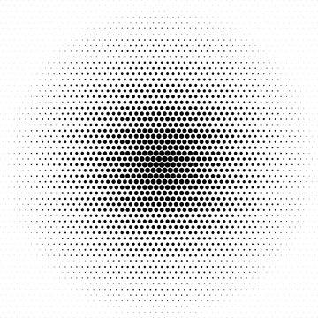 Black halftone circles. Pop art texture made of spots. Vector round dots gradient.