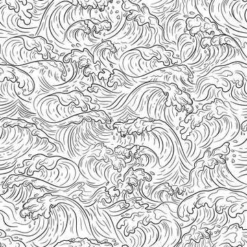 Japanese water wave background. Japanese sea new pattern seamless vector in graphic style background for fabric,textile,Advertising work,Publication,Vector Illustration design.