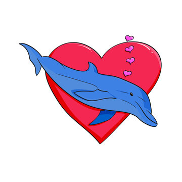 dolphin swimming passed a red heart