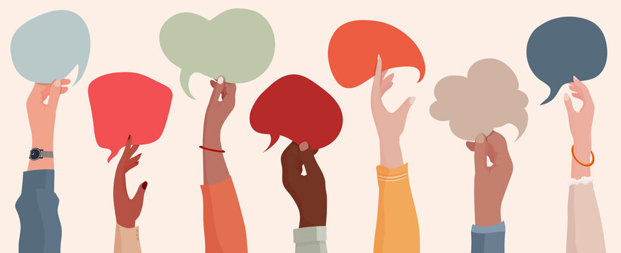 Group communication of multi-ethnic and multicultural men and women. Raised hands holding speech bubble. Racial equality. People diversity. Different culture and countries. Community