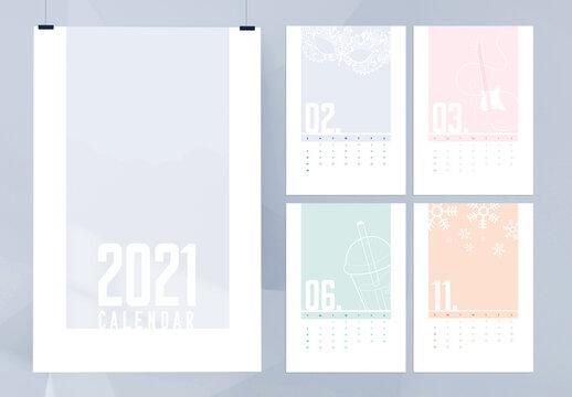 Simple Minimal Illustration Calendar