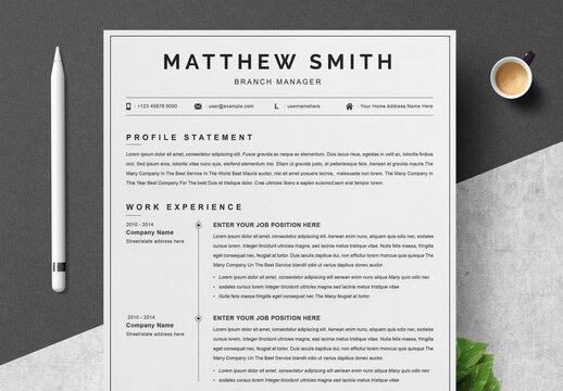 Minimal Resume, Cover Letter and Reference Page Set
