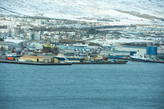 container ship in export and import business and logistics. Iceland cargo port.