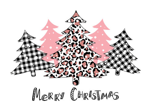 Plaid Christmas tree winter forest leopard tree vector