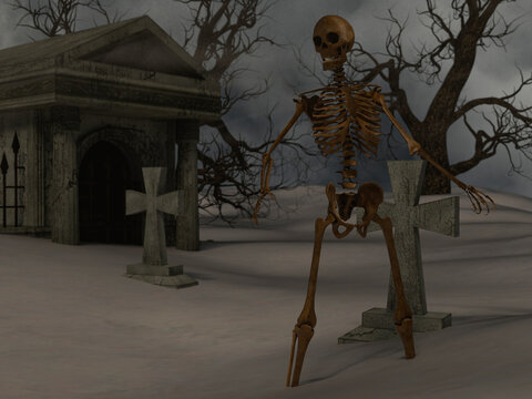 Walking skeleton in the spooky night near a crypt