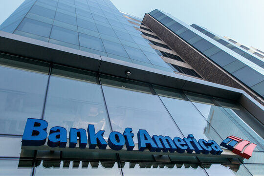 Bank of America sing above the entrance to one of their branches.