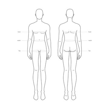 Men standard body parts terminology measurements Illustration for clothes and accessories production fashion male size chart. 9 head boy for site and online shop. Human body infographic template