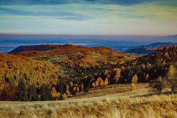 beautiful autumn landscapes in the Romanian mountains, Fantanele village area, Sibiu county, Cindrel mountains, Romania