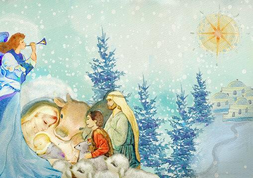 Nativity scene. Merry Christmas watercolor