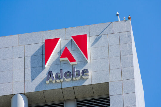 Close up. Adobe headquarters building in the downtown of Silicon Valley largest city - San Jose, CA, USA - 2020