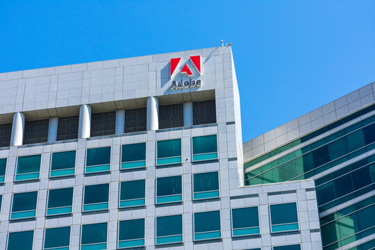 Adobe headquarters building facade in the downtown of Silicon Valley largest city - San Jose, CA, USA - 2020