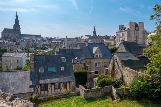 Dinan, France - August 26, 2019: High angle view of Dinan with old cobblestoned streets and stone medieval houses, French Brittany