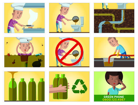 Comic strip about the consequences of throwing kitchen oil without proper treatment, in storyboard about the city sewage system. Vector illustration.