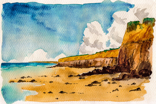 Landscape of beautiful cliffs by the sea and sunny day. At the tropical beach of Itaunas in the Brazilian northeast. Watercolor painting.
